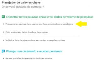 Google Keyword Planner - passo 2